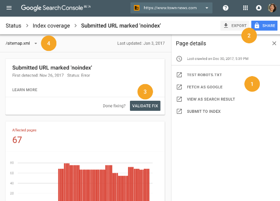 La nouvelle interface search console